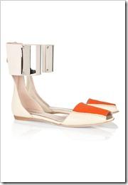Giambattista Valli Metal-cuffed leather and twill sandals