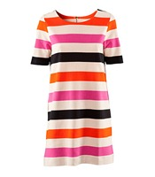 Straight jersey dress with print stripes