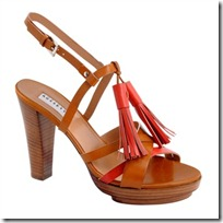 Sandal in antiqued tan red calfskin