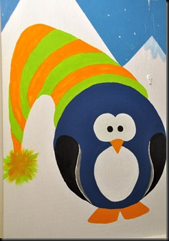 Penguin with bobble hat mural