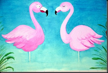 Flamingo wall paintings