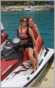 Tish and Zoe on the jet skis