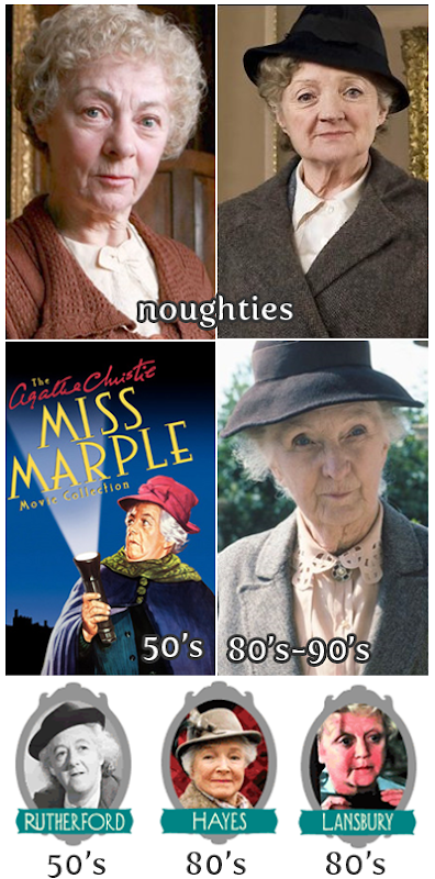 graphic of the various English-speaking actresses who have played the part of Miss Jane Marple - Margaret Rutherford, Helen Hayes, Angela Lansbury, Joan Hickson, Geraldine McEwan, Julia McKenzie