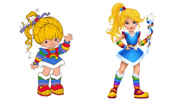 At left, the old Rainbow Brite, a young, short, very slightly chubby cartoon white girl, wearing a puffy blue outfit with rainbow stripes, and a giant ponytail. Her face is round with big eyes and an upturned nose, and she waves happily. At right, the new Rainbow Brite, an older, tall, thin cartoon white girl. Her outfit is more stylish, her ponytail looking like something pulled out of a fashion magazine. Her face is slim, cheekbones are high, and her nose small and cute. Her eyes are seemingly accented with eyeliner and mascara, and her lips appear tinted with lipstick.