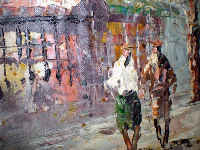"""L. A. Burnett (?): """"Paris"""", oil on canvas (51 x 61 cm)"""