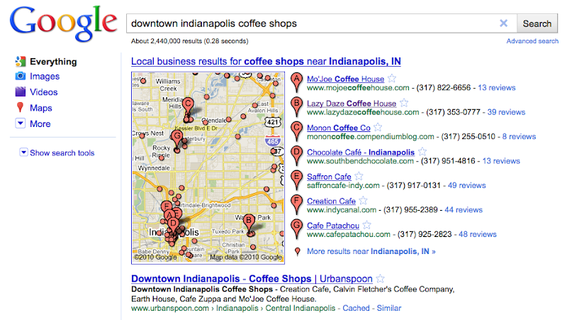 Screenshot of Google Map of Downtown Indianapolis Coffeeshops