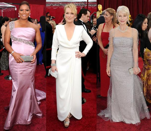 Oscars Dresses 2010 Queen Latifah Badgley Mischka Meryl Streep Chris March Helen Mirren Badgley Mischka