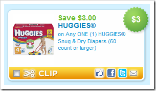 Huggies Snug and Dry Diapers 3 dollars off