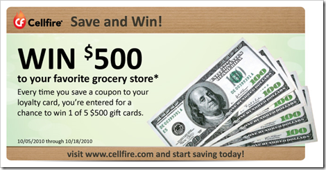 Cellfire Save and Win 500 gift card