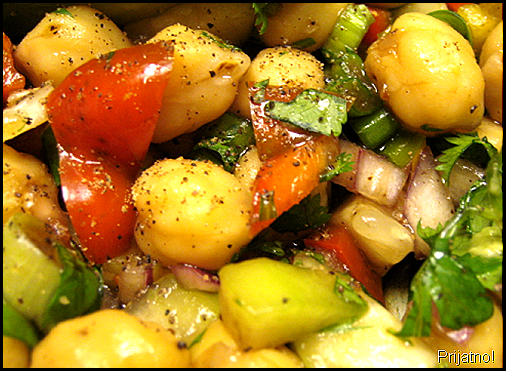 garbanzo salad, detail