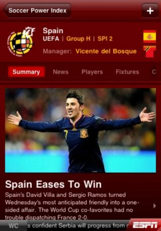 iPhone ESPN 2010 FIFA World Cup Screenshots