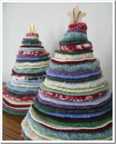 karácsonyfa dekoráció textilből