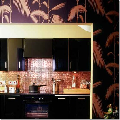 kitchen_wallpaper_ideas_black_and_bronze_palm_print