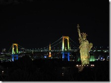 Stature of Liberty, Rainbow Bridge and Tokyo Tower at night