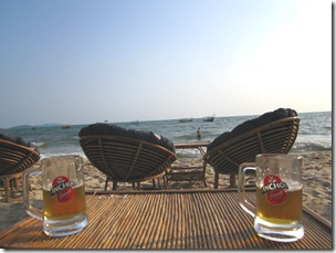 Enjoying a cold beer at the beach