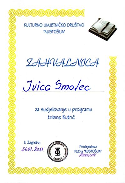 Zahvalnica KUD 'Kustošija' za nastup na 'Kutriču', 27. siječnja 2011.