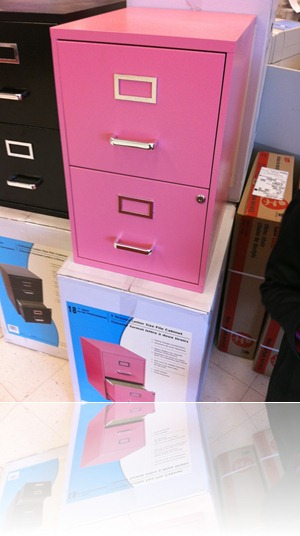 pink filing cabinet