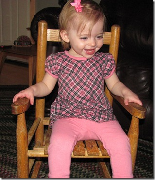 Elaine in G-ma's rocking chair