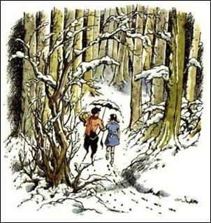 narnia!pauline baynes illustrations!Lucy and Mr Tumnus $28The Lion the Witch and the Wardrobe$29_473x500