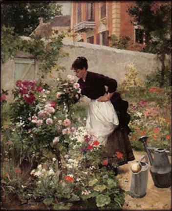 jeune-femme-dans-le-jardin-fleuri