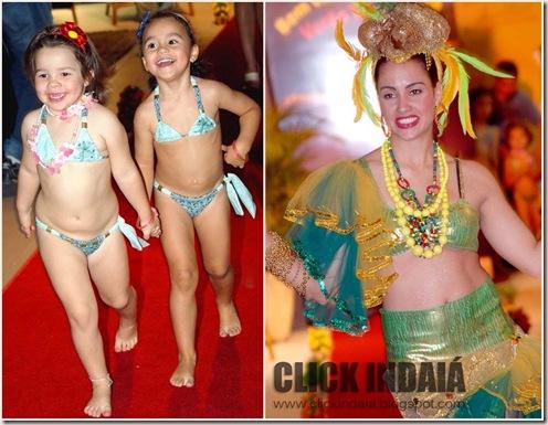 As modelos mirins e a Carmen Miranda de Simone Santos (Crédito: Fábio Alexandre)
