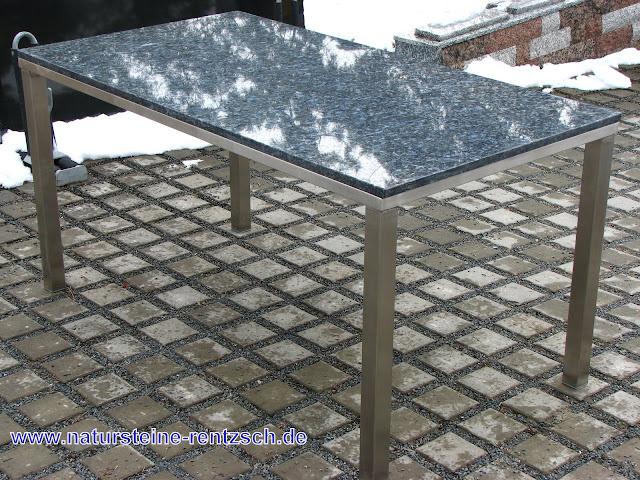 tisch 160x90x75 edelstahl blue pearl gartentisch granit ebay. Black Bedroom Furniture Sets. Home Design Ideas