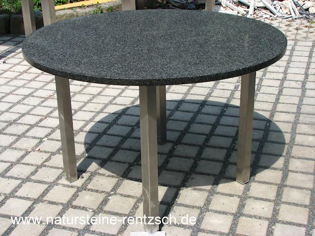 tisch terrasse d 120cm edelstahl granit rund esstisch ebay. Black Bedroom Furniture Sets. Home Design Ideas