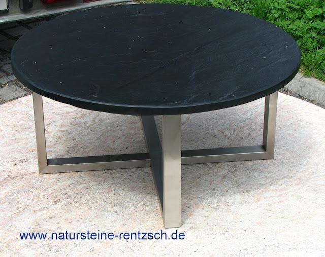 couchtisch durchmesser 90cm edelstahl mit schieferplatte schwarz esstisch stein ebay. Black Bedroom Furniture Sets. Home Design Ideas
