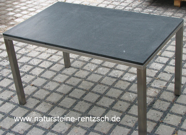 tisch edelstahlm bel esstisch mit granitplatte schwarzer. Black Bedroom Furniture Sets. Home Design Ideas