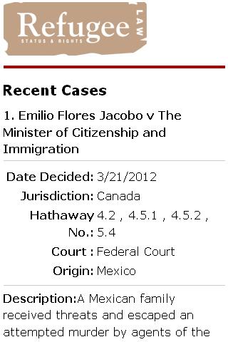 Refugee Case Law