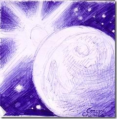 Apus de soare vazut din cosmos desen in pix