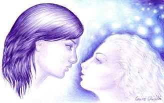 Eu cu femeia pe care o visez foarte des desi nu o cunosc in viata reala privind in ochii ei desen in pix