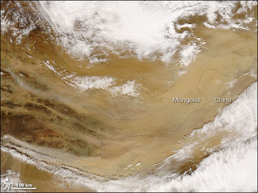 Gobi Desert Dust Storm Image. Caption explains image.
