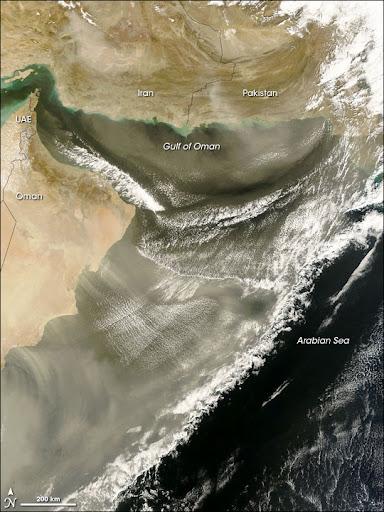 Dust over Gulf of Oman, Arabian Sea Image. Caption explains image.
