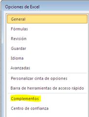 Activar y usar complementos en Excel 2010_3