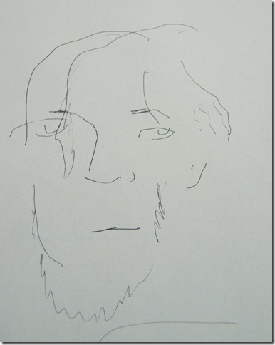 Pen drawing of man done without looking at paper