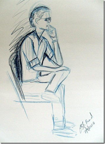 ©2010 Cathy Read -Sitting figure - 38x28cm- coloured pencil on paper