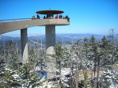 Clingman's Dome tower on a snowy day