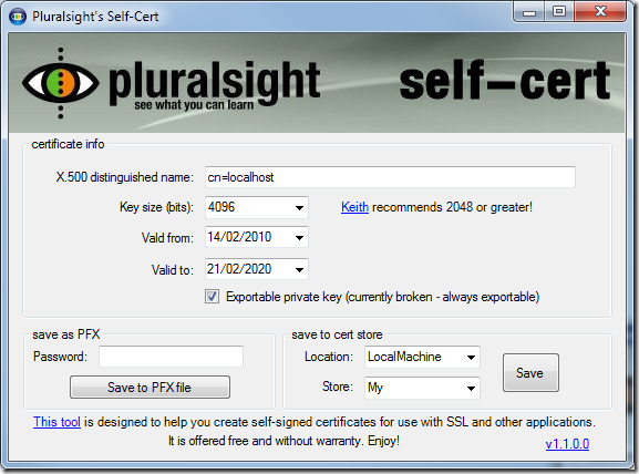 Code rant: Creating x.509 certificates with Pluralsight self-cert