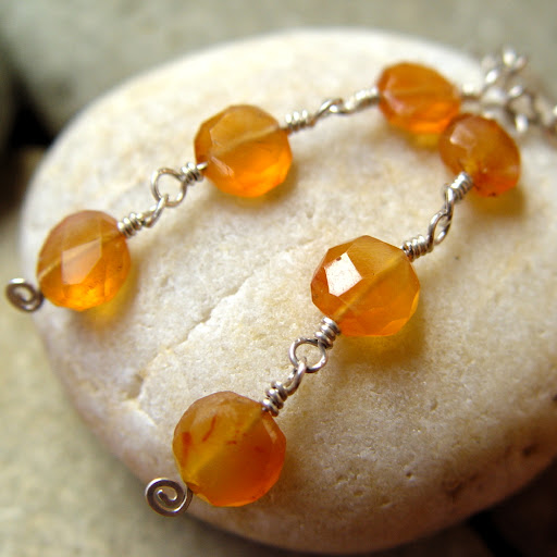 Tangerine Fields Forever carnelian and silver earrings