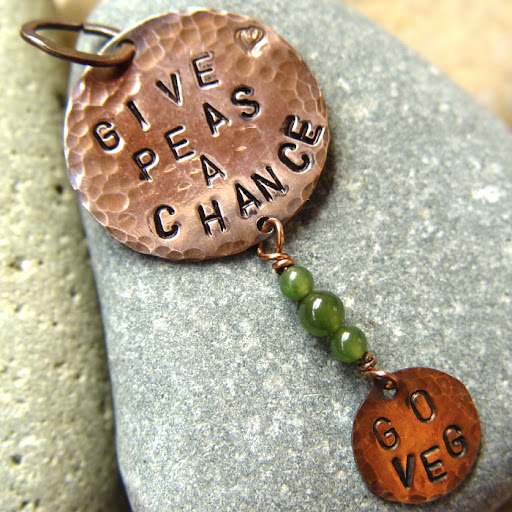 Give Peas A Chance Go Veg copper handstamped pendant