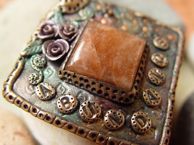 ABUNDANCE mixed media wearable art pendant