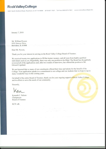 RVC Rejection letter