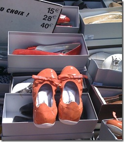 Orange shoes in the market