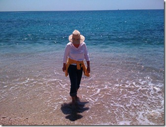 Dipping her toes in the Mediterranean