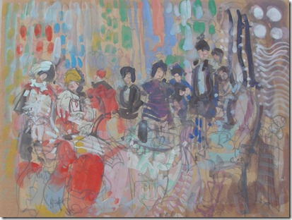 Colorful Group at Table Gouache