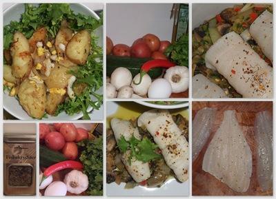 fiskeruller med sopp og salat med poteter og egg