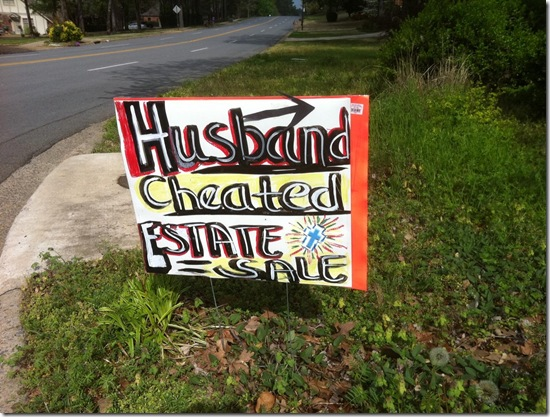 Husband Cheated Sign