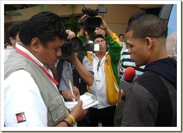 Elio Rojas al llegar a Mérida