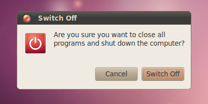 screenshots ubuntu 10.04 switch off dialog